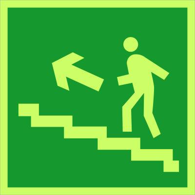 Направление к эвакуационному выходу по лестнице вверх (налево) E16 (фотолюм)