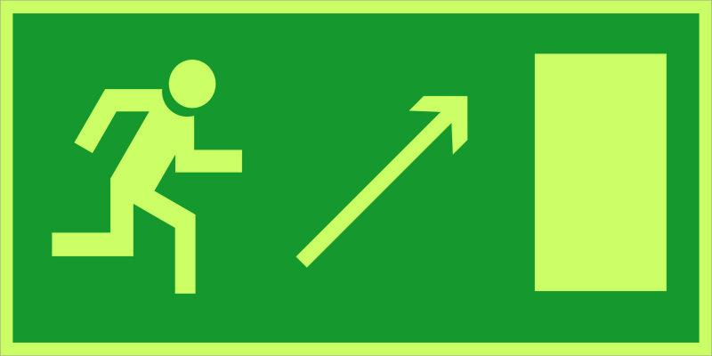 Направление к эвакуационному выходу направо вверх E05 (фотолюм)