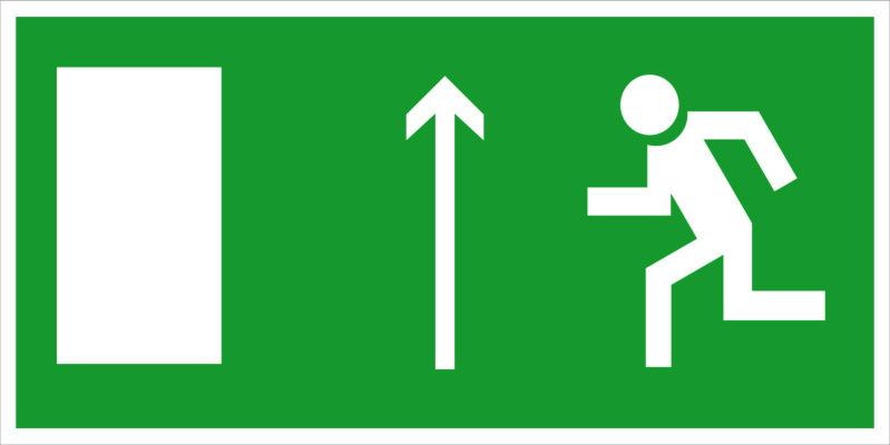 Направление к эвакуационному выходу прямо E12