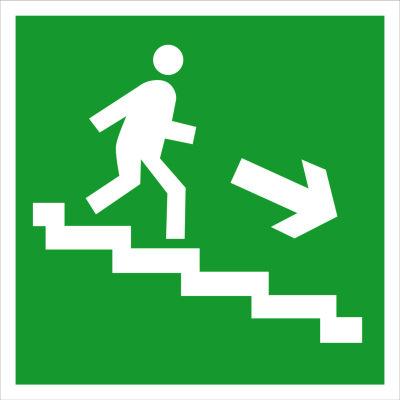 Направление к эвакуационному выходу по лестнице вниз E13