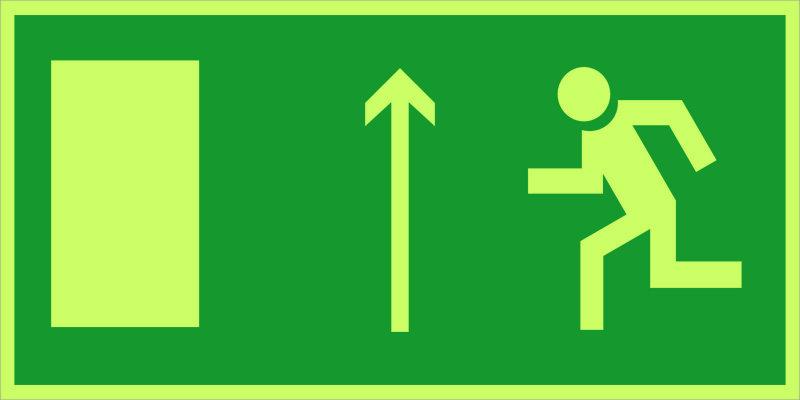 Направление к эвакуационному выходу прямо E12 (фотолюм)