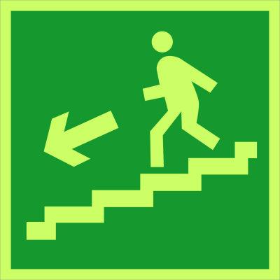 Направление к эвакуационному выходу по лестнице вниз (налево) E14 (фотолюм)
