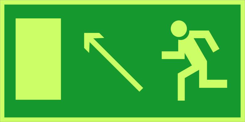 Направление к эвакуационному выходу налево вверх E06 (фотолюм)