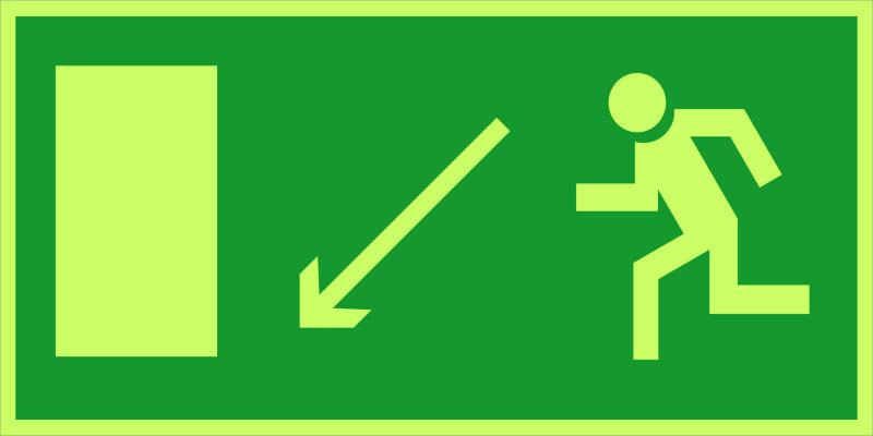 Направление к эвакуационному выходу налево вниз E08 (фотолюм)